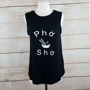 🎉Merona Pho Sho Novelty Graphic Black Tank Sz S